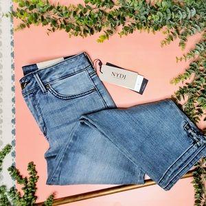 NYDJ Capri Lace Up Hem Blue Jeans Point Dume NWT